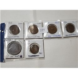6 Old Provincial Coin Tokens