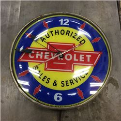 """Chevrolet Clock 14"""" Electric """"works"""" Adv. Glass flat outside glass bubbled"""