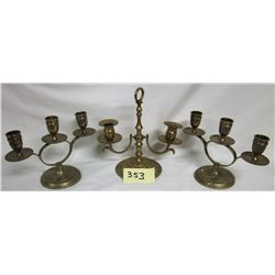 Trio Brass Candelabras-India Ornate