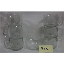 Set of 6 Clear Glass Nestle Frosted World Globe Coffee Cups