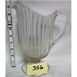 Ornate Ribbed H2O Glass Footed Pitcher