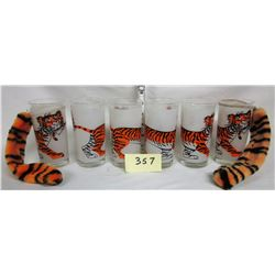 "Set of 6 Vintage 1960s-70s frosted print ""ESSO"" Tony Tiger Bar Glasses"