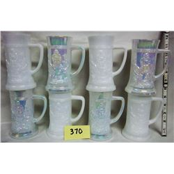 8 Embossed Pub Scene Milk Glass Beer Steins white/irradescent