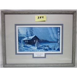 "1993 Scimshaw ""Decembers Warmth"" matted and framed"