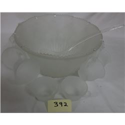 Frosted embossed Carnival Glass Punch Bowl 12 cups + ladle