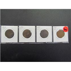 Canadian Large Cents 4 different