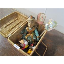 Wicker Basket c/w puppet,toys,2 make up mirrors