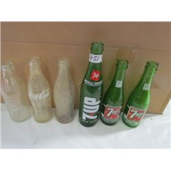 6 Pop Bottles-3 7up 3 coca cola
