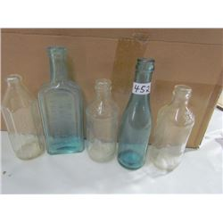 5 Bottles- Pyrex Baby,2 Blue,2 clear
