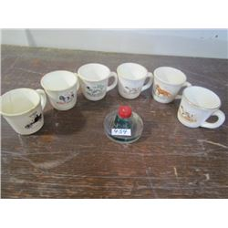 6 coffee Mugs + 1 glass Inkwell