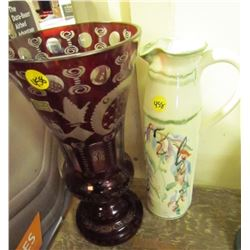 Vases- 1 Chzech Glass Red + Ceramic Skinny Water Jug