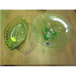 Green Glass footed plate + Oval Dish-Windsor Jeannette Glass 1936-46
