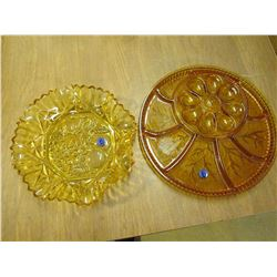 Orange Depression Glass tray + Bowl