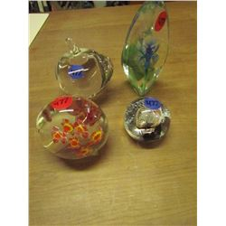 4 Colored/Clear Blown Glass Paper Weights (Tall one signed Matts Jonasson)