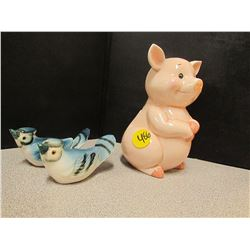 2 Blue Jays -1 Pink Piggy bank