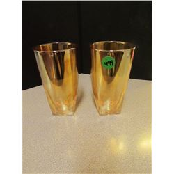 2 Tumblers -square base Iredescent Color
