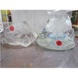 Mats Jonasson Sweden Glass Swan and Ice Berg shaped decor