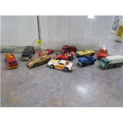 Tin with Misc 1970s Toy Car Lot (11)