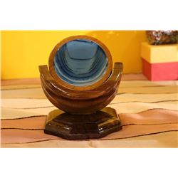 WOOD COASTER PARABOLIC W/AGATE DISC 80MM NATURAL