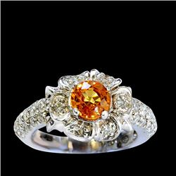 1.23CT NATURAL CEYLON YELLOW SAPPHIRE 14K WHITE GOLD RING