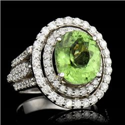 4.51CT NATURAL COPPER BEARING PARIBA TOURMALINE 18K W/G RING