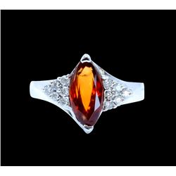 2.18CT NATURAL Malaya Garnet 14K W/G RING
