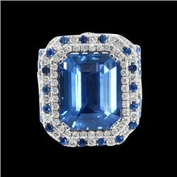 GIA 13.58CT NATURAL CEYLON BLUE SAPPHIRE 18K WHITE AND ROSE GOLD RING