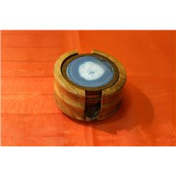 WOOD COASTER ROUND W/AGATE DISC 80MM BLUE