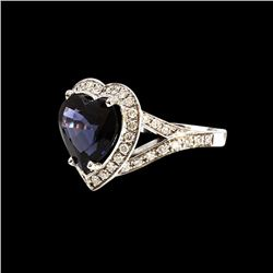 4.41CT NATURAL BURMA BLUE SPINEL 14K WHITE GOLD RING