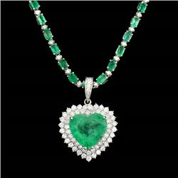 13.75CT NATURAL COLOMBIAN EMERALD 18K W/G PENDANT AND CHAIN