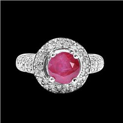 GIA 2.56CT NATURAL RUBY 14K WHITE GOLD RING