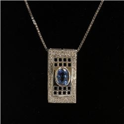 1.30CT NATURAL CEYLON BLUE SAPPHIRE 14K WHITE GOLD PENDANT