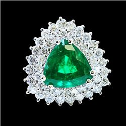 4.84ct NATURAL COLOMBIAN EMERALD 14K WHITE GOLD Ring