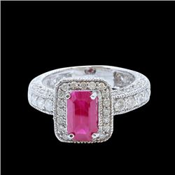 GIA 2.12CT NATURAL RUBY 14K WHITE GOLD RING