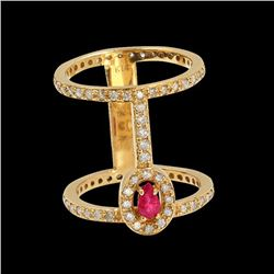 0.30CT NATURAL RUBY 14K YELLOW GOLD RING