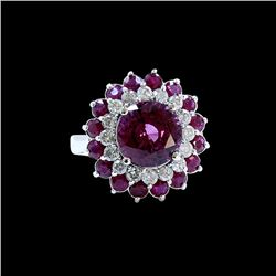 4.42CT NATURAL RASPBERRY GARNET 14KW/G RING