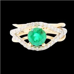 1.17ct NATURAL COLOMBIAN EMERALD 14K W/Y/G RING