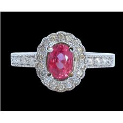 1.26CT NATURAL CEYLONE PADPARADSCHA SAPPHIRE 14K WHITE GOLD RING