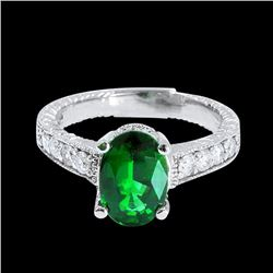1.85CT NATURAL TSAVORITE 14K WHITE GOLD RING