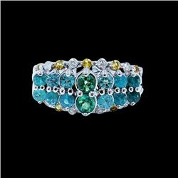 0.90CT BRAZILIAN NATURAL COPPER BEARING PARAIBA TOURMALINE 14K W/G RING
