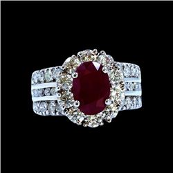 3.32CT NATURAL RUBY 18K WHITE GOLD RING
