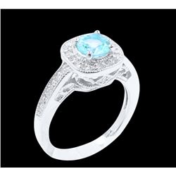 0.79CT NATURAL COPPER BEARING PARAIBA TORMALINE 14K W/G RING
