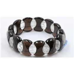 Faceted Fancy Black Agate & Quartz Bracelet