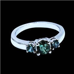 1.30CT NATURAL ALEXANDRITE 14K WHITE GOLD RING