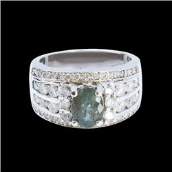 1.60CT NATURAL ALEXANDRITE 18K WHITE GOLD RING
