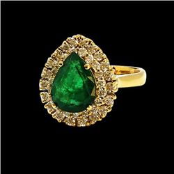 3.02CT NATURAL COLOMBIAN EMERALD 14K YELLOW GOLD RING