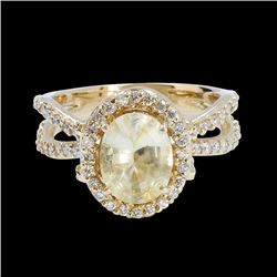 2.31CT Natural YELLOW CEYLON SAPPHIRE 14K YELLOW GOLD RING