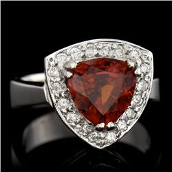 3.40CT NATURAL MALAYA GARNET 18K WHITE GOLD RING