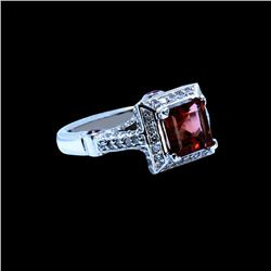 NATURAL 1.95CT PEACH TOURMALINE & 0.35CT RUBY 14K W/G RING
