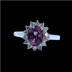 2.43CT NATURAL COLOR CHANGE GARNET 14K WHITE GOLD RING